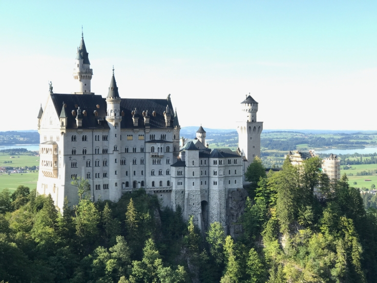 A photo of the fairy tale turret topped castle that inspired Walt Disney. Neuschwanstein Castle in Schwangau, Germany.