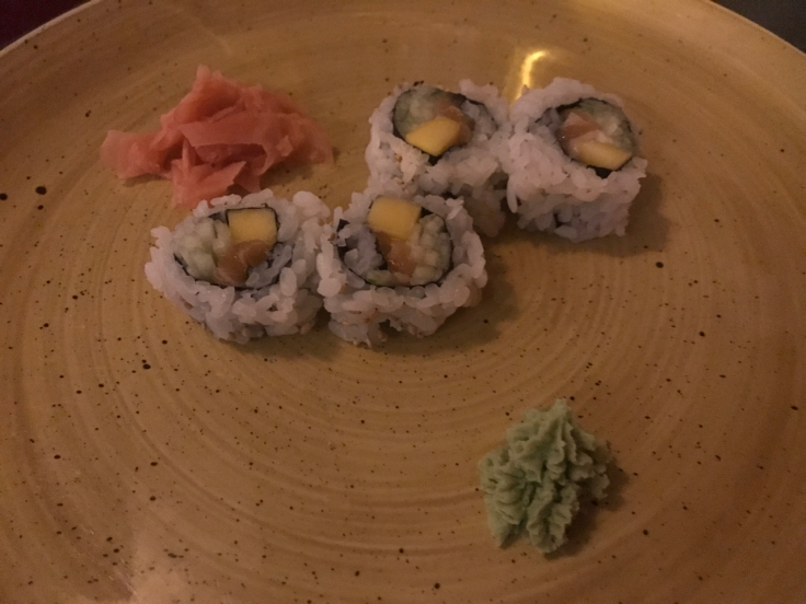 The California Roll at Confraria Sushi (a Japanese restaurant in Cascais, Portugal) is made with cucumber (pepino), mango (manga) and salmon (salmão). Photo Courtesy of FoodWaterShoes