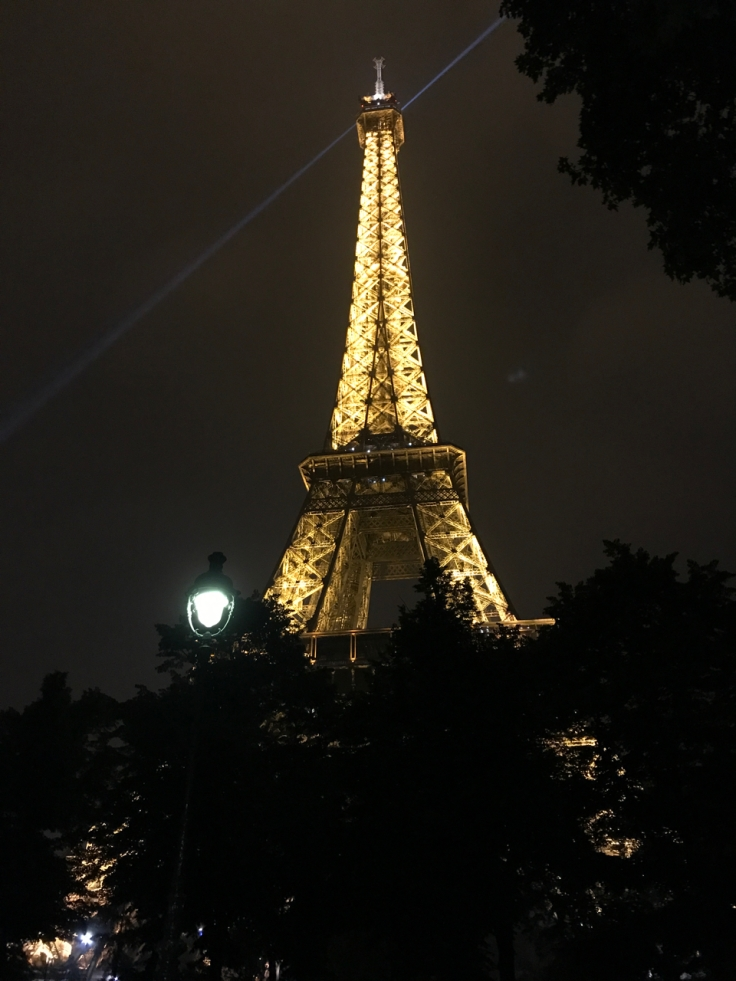 The Eiffel Tower in Paris, France lit up at night with all of its sparkling lights.