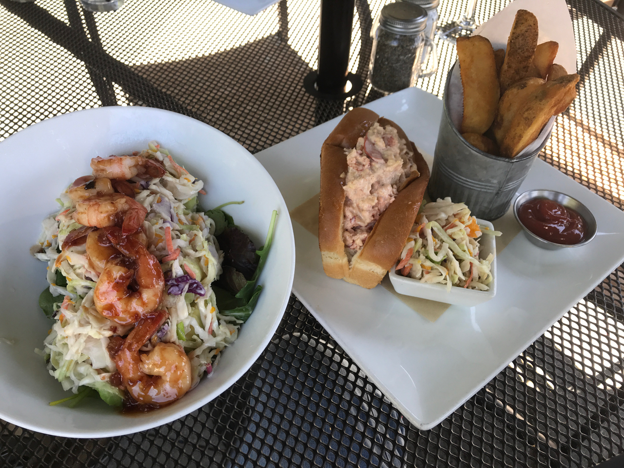 A Sautéed Prawn and Avocado Salad and a Traditional Lobster Roll at Rustic House Oyster Bar & Grill in Los Altos, California - Photo Courtesy of FoodWaterShoes