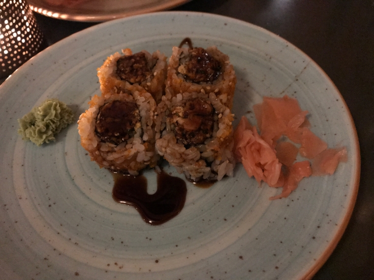 A spicy tuna roll made with tabasco and mayonnaise (maionese) and chives (cebolinho) at Confraria Sushi, a Japanese restaurant, in Cascais, Portugal. Photo Courtesy of FoodWatershoes