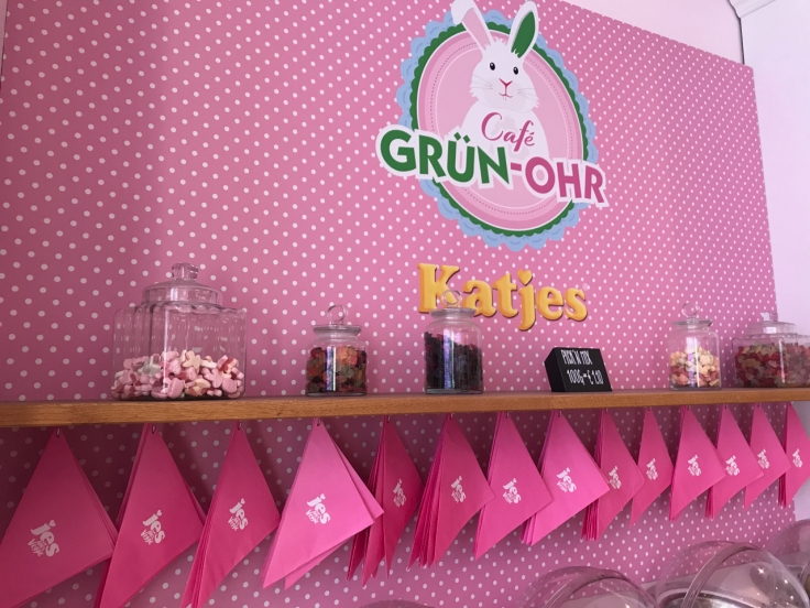A bright pink pick and mix station where you can choose your own bag of gummies at Katjes Café Grün-Ohr coffee shop in Berlin, Germany. Photo Courtesy of FoodWaterShoes