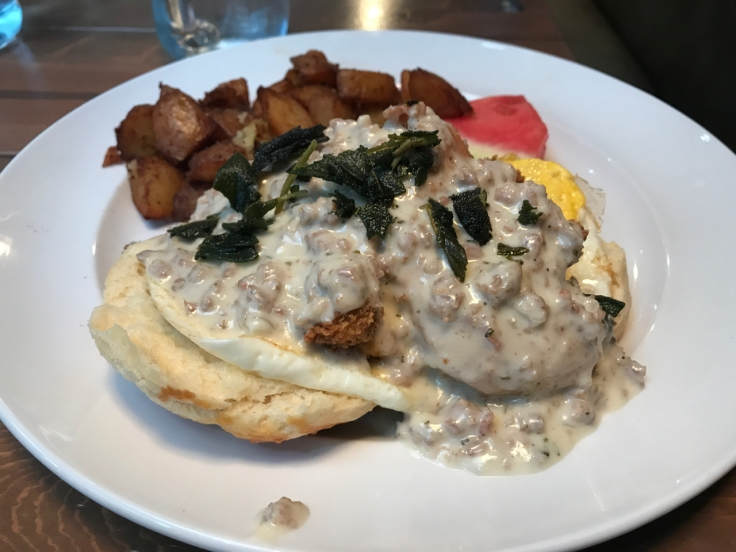 A fried chicken Benedict at Mo's Breakfast + Burger Joint in Campbell, California. Photo Courtesy of FoodWaterShoes