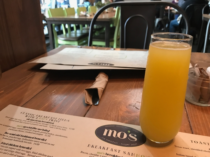 A mimosa or mo'mosa if you will at at Mo's Breakfast + Burger Joint in Campbell, California. Photo Courtesy of FoodWaterShoes