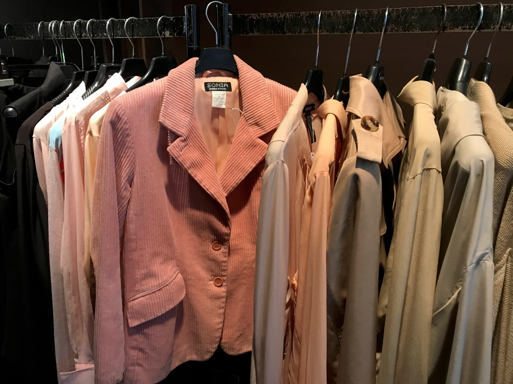 A photo of a vintage Sonia Rykiel pink corduroy jacket at secondhand boutique Isabelle Bajart in Brussels (Bruxelles), Belgium. Photo Courtesy of FoodWaterShoes