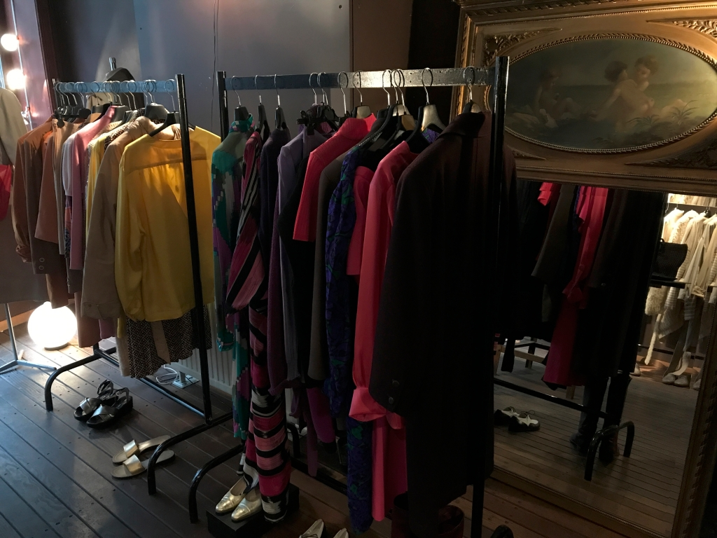 A photo of a racks of high end designer vintage clothing at secondhand boutique Isabelle Bajart in Brussels (Bruxelles), Belgium. Photo Courtesy of FoodWaterShoes