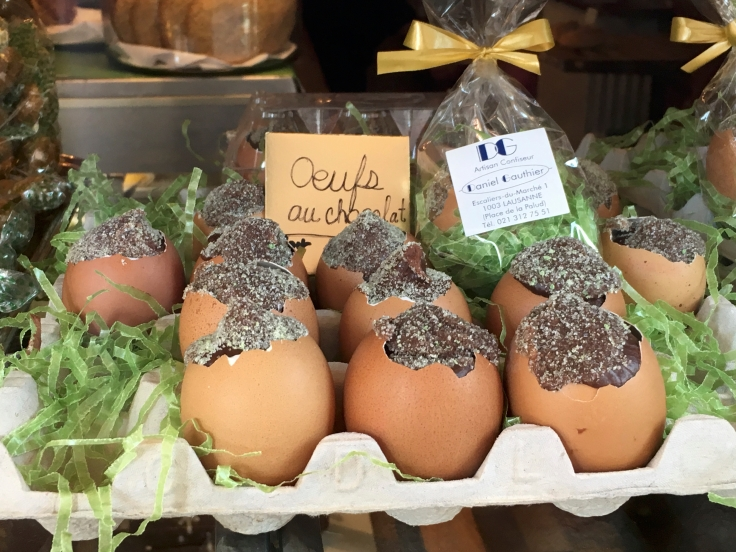 A photo of chocolate Easter eggs (oeufs de Pâques au chocolate) at Danile Gauthier in Lausanne, Switzerland. Photo Courtesy of FoodWaterShoes