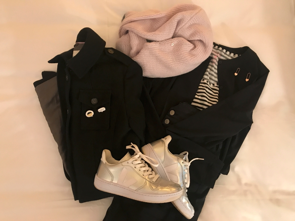 A photo of rose gold Betsey Johnson heart lock earrings, a black wool Banana Republic jacket, Veja V-10 unicorn sneakers, a black Lululemon solo blouse, a black and white striped VS Victoria's Secret tee and black high waisted Isabel Marant denim jeans. Photo Courtesy of FoodWaterShoes