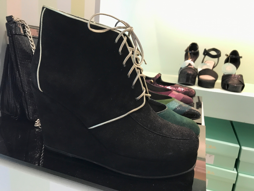 A photo of black wedge platform high heels at the GretaFlora shoe shop in Buenos Aires, Argentina. If you're interested in fashion and stiletto shopping in Buenos Aires, this is one boutique you won't want to miss. Photo Courtesy of FoodWaterShoes