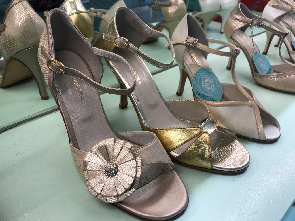 A photo of lovely Clementina champagne flower tango stilettos at the GretaFlora shoe shop in Buenos Aires, Argentina. If you're interested in fashion and high heel shopping in Buenos Aires, this is one boutique you won't want to miss. Photo Courtesy of FoodWaterShoes