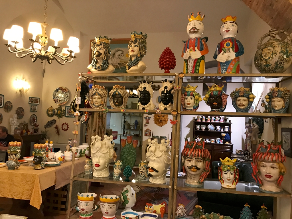 A photo of Teste di Moro, Sicilian head shaped vases, at Sikuliana Art Atelier in Florence, Italy. Photo Courtesy of FoodWaterShoes