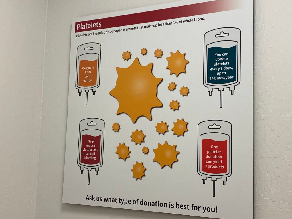 A photo of a chart at the Stanford Blood Center. You can donate platelets every 7 days, up to 24 times/year. Photo Courtesy of FoodWaterShoes