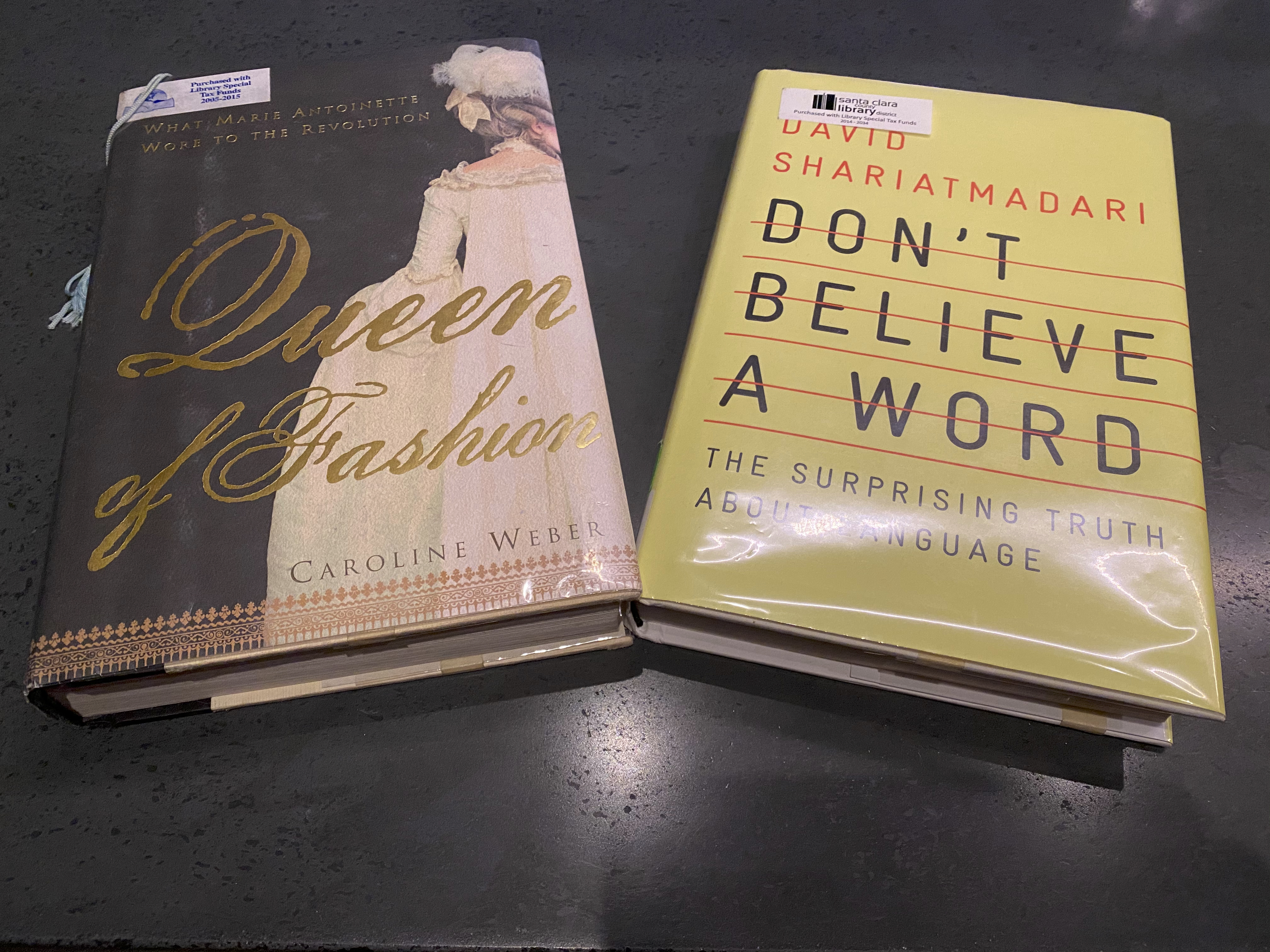 "A photo of the hard cover books, ""Queen of Fashion"" by Caroline Weber and David Sariatmadari's, ""Don't Believe a Word,"" from the Santa Clara Clara County Library. Photo Courtesy of FoodWaterShoes"